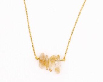 """Lemon"" necklace, citrine, french-modern-minimalist stone"