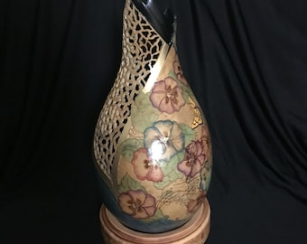 Pyrography butterflies and pansies gourd