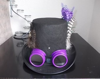 Gothic Steampunk Hat.Lilac Goggles.Flowers.Feathers.Medallion Size 58
