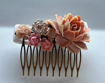 Pink hair comb,pink hair adornment, hair barette, all about hair, hair jewels, wedding hair comb, bridal hair comb, hair accessories, hair