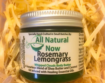Exfolitate/Rosemary Lemongrass/Whipped Body Butter/100% Pure & Therapeutic Essential Oils