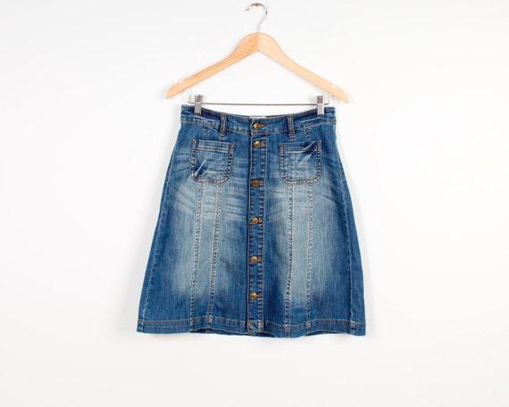 90s denim skirt vintage button up knee lenght skirt vintage