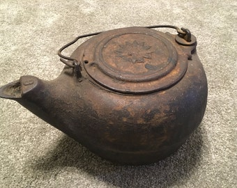 Old Cast Iron Tea Kettle with Swivel Lid and Handle