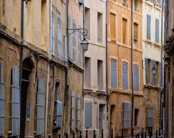 Provence Photography, Provence, Aix-en-Provence, Alley, Street Light, Street Lamp, Shutters, France, Aix, Brendan J.Jacobson Photography