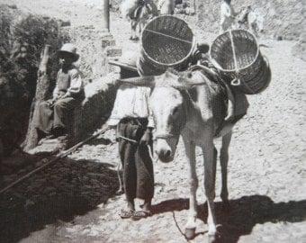 Antique 1920's Real Photo Postcard Post Card Mexico RPPC TaxcoStreet Scene  Black & White image