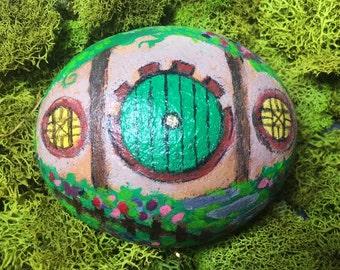 Hobbit Hole painted rock