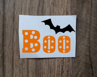 Boo Bat Decal Sticker / Halloween Decal Sticker / Polka Dot Boo / Bat Scary Decal Sticker / October Decal Sticker
