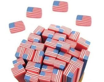 5 American USA Flag Fimo Polymer Clay Rod Canes Nail Art DIY Crafts Supplies Sticks July 4th