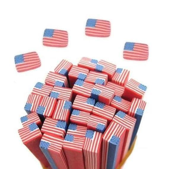 5 American USA Flag Fimo Polymer Clay Rod Canes Nail Art DIY