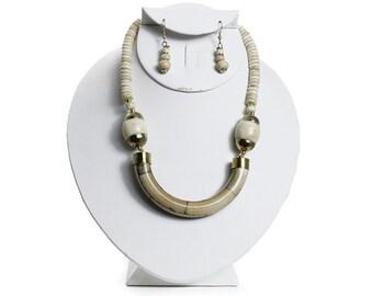 Antique Bone Necklace & Earring Set
