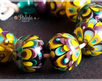 Set of artisan lampwork glass beads