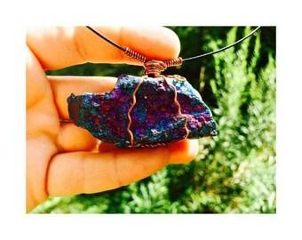 Crystal Pendant, Rainbow Bornite