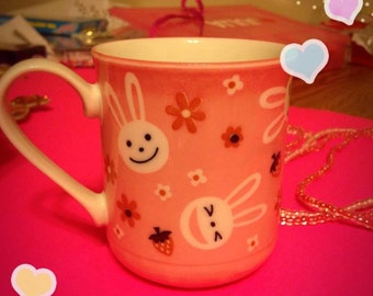 Cute Kawaii Bunny Rabbit Vintage Retro 90's Mug Usagi Easter Pink