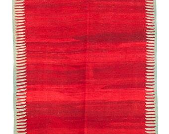 Turkish Handmade,キリム,Nomadic Milas Kilim,Animal Design Kilim,Red Kilim Rug, 4.6 X 7.4 ft.- 140 x 225cm