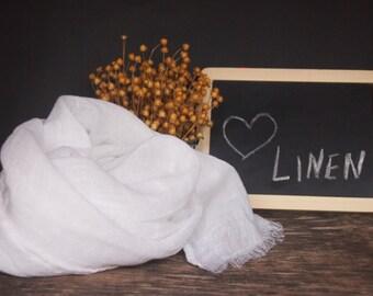 Linen White Scarf, Linen Women Accessories, Linen Gift