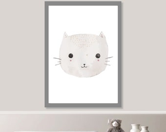 Watercolor Cat Nursery Print // Minimalist Poster // Wall Art Poster // Nursery Poster // Typography Poster // Minimal Poster // Cute Baby
