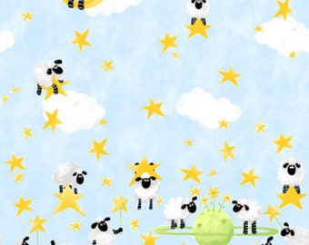 """Susybee Fabric : Lewe, the ewe Sheep - Jumping Over the moon Hopping Leaping sheep Fabric 100% cotton fabric by the yard 36""""x42"""" (SB59"""