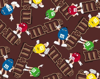 "Candy Fabric by Springs Creative: Mars M&Ms Friends and LOGO fabric 100% cotton Fabric by the yard 36""x44"" (SC105)"