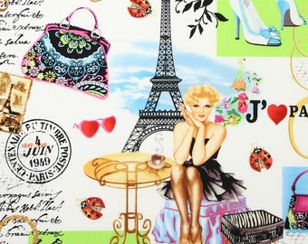 "Paris Fabric: J'adore Paris I Love Paris Multi Fabric by Timeless Treasures PARIS C7199-MULTI 100% cotton fabric by the yard 36""x43"" (K132)"