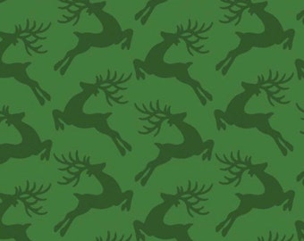 "Christmas Fabric, Deer Fabric: Deer jumping over on green 100% cotton fabric by the yard 36""x43"" (N268)"