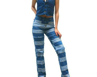 Vintage Patchwork Bell Bottom Jeans 90s does 70s