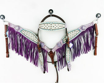 Western Barrel Trail Horse Handmade Purple Fringe Bling Leather Headstall Bridle Breast Collar