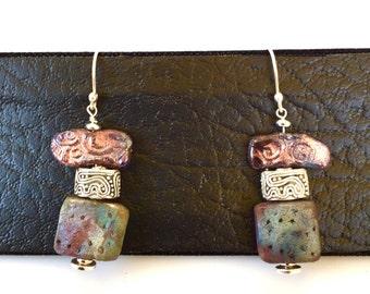 Raku and silver earrings
