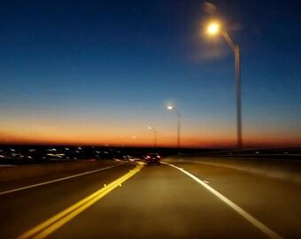 Road at Dusk, Fine Art Photography,  Wall Art, Blurry Photo, St Augustine FL, Night Sky, Deep Blue Sky, Horizontal Photo, Housewarming Gift