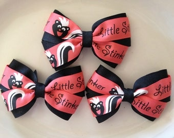 Hair bows,Little Stinker Hair bows,Small Hair bows,Boutique bows, Boutique Hair bows,Hard to find ribbon,Ready to ship