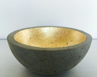 concrete bowl with gold leafing