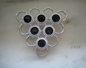 Vintage Sarah Coventry Silver Tone Black Rhinrstone Pin or Brooch