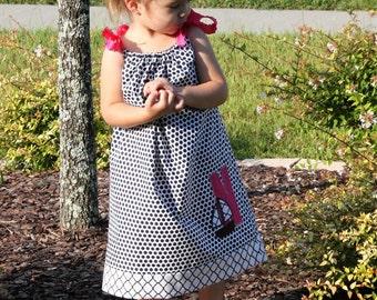 Navy Polka Dot Pillow Case Dress