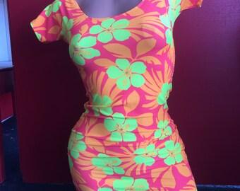 Exotic Dancewear stripper mini dress neon orange and yellow floral clunwear