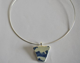 Blue and white  Margate sea pottery necklace on wire  choker