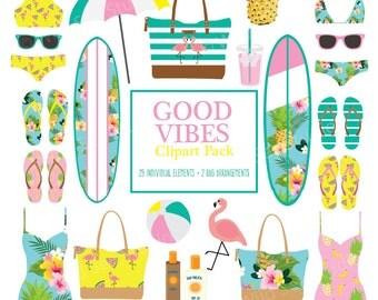 Tropical Beach Clipart, surfboards, bikinis, flip flops, beach ball, beach bags, umbrella