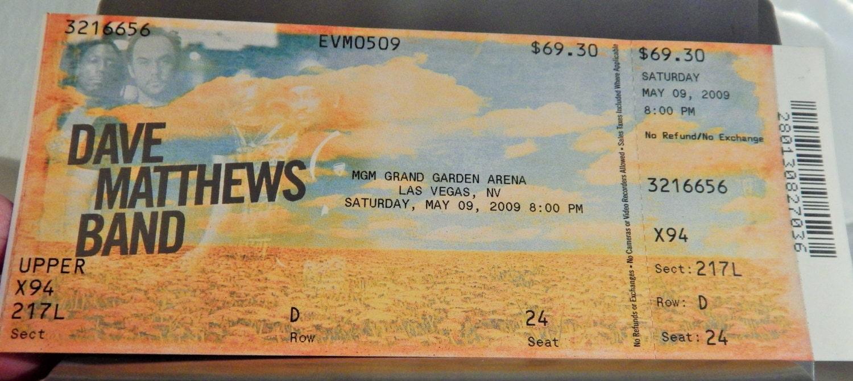 Dave Matthews Band 2009 Mgm Grand Garden Las By