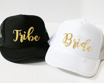 Bride and Tribe Trucker Hats and Baseball Hats - Wedding Party Hats - Bridal Hats - Bachelorette Party Hats - Bach Bash Hats