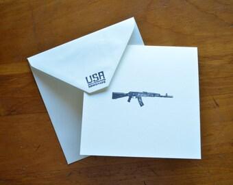AK-47 Blank card, set of five.