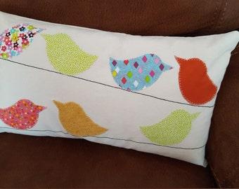 Birds on a line cream cushion cover