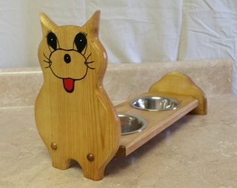 Handmade Wood Cat Feeder with two Stainless Steel Bowls