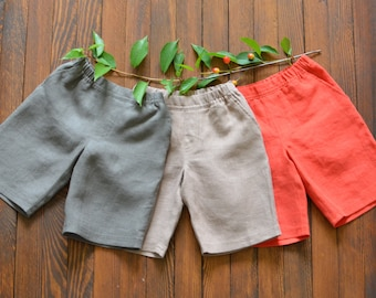 Boys Linen Shorts Colorful linen shorts Boys clothing Handmade linen shorts For summer