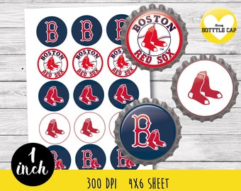 Boston Red Sox MLB Bottle Cap-1 inch Bottlecap-Printable Image-Boston Red Sox MLB collage sheet-Sport bottle cap-MLB bottle cap 1 inch