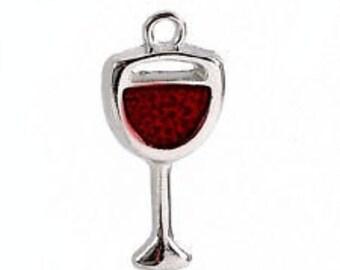 Wine Glass Charm. Red enamel & alloy x 4