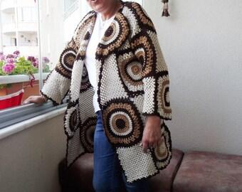 plus size clothing, Women cardigan, Plus size cardigan, Hippie clothing, Open cardigan, Long Sleeve cardigan, Brown Cream crochet