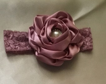 Mauve vintage Headband Rose