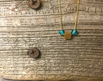 Gold square necklace dainty necklace summer jewelry gift for her