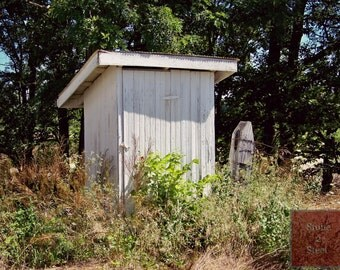 Old Outhouse Photograph, Rural Indiana, Farm, Rural America, Rustic Farmstead, Americana Artwork, Outdoor Plumbing, Rural Decay, Farming