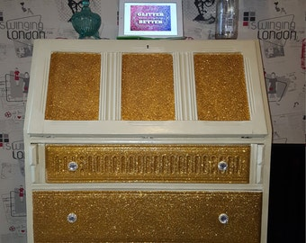 vintage bureau/writing table/computer desk finished in annie sloan cream and sparkling gold.