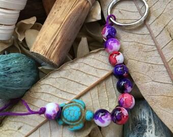 Handmade, Boho, Beach, Watercolor Beads, Turquoise Sea Turtle Charm, Purple Nylon Cord, Key Chain, Key Fob, Lanyard, Purse Charm, Bag Charm