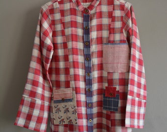 Hand-spun and handwoven khadi jacket , khadi checks fabric , handloom cotton , organic cotton , khadi garment ,